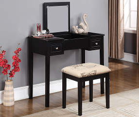 Black Butterfly Mirror Vanity Set With Stool Big Lots
