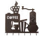 Black Coffee Station Laser Cut Metal Wall Decor with Hooks Overhead Shot Silo Image