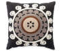 Black Crewel Embroidery Throw Pillow Front View Silo Image