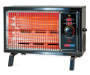 Black Deluxe Radiant Heater with Heat On Angled Front View Silo Image