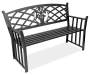 Black Floral Cast Iron and Steel Garden Bench Angled View Silo Image