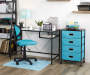 Black Glass Desk with Bookcase Desk Chair In Room Lifestyle Image
