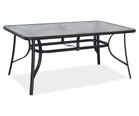 fisher black glass top patio dining table 38 x 64