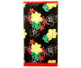 Black Hibiscus Beach Towel 34 inches X 64 inches silo front