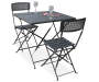Black Metro 3 Piece Folding Bistro Set silo angled view