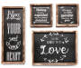 Black Sentiments Wood Wall Décor, 4-Piece Set