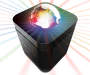Black Small Disco Speaker Shining Rainbow Light on White Background