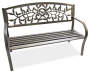 Black Vine Cast Iron and Steel Garden Bench Angled View Silo Image