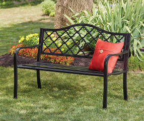 Wilson Amp Fisher Black Wyndham Gate Pattern Garden Bench