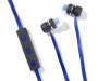 Black and Blue Bluetooth Earbuds with Case Out of Package Silo