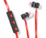 Black and Red Bluetooth Earbuds with Case Out of Package Silo