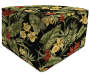Black and Red Tropical Plant Ottoman Pouf silo front