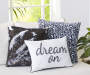 Black and Silver Mermaid Sequin Throw Pillow 18 inch x 18 inch lifestyle bedroom
