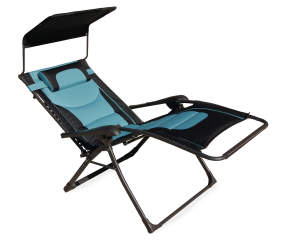 Wilson Fisher Black Teal Oversized Padded Zero Gravity Chair With Canopy Lots