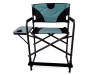 Black and Teal Oversized Director Chair Front View Silo Image