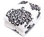 Black and White Damask Pattern Twin and Full Size Blanket Folded Corner Down Silo Image