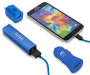 Blue 4-Piece Micro USB Power Bundle All 4 Pieces and Phone