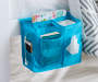 Blue Bedside Caddy on Bed with Accessories