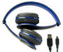 Blue Bluetooth Stereo Headphones Out of Package Folded Down with USB Cord Silo Image