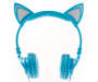 Blue Light-Up Cat Ear Headphones Silo Front