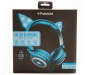 Blue Light-Up Cat Ear Headphones Silo In Package