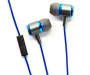 Blue Metal Stereo Earbuds Out of Package with In Line Mic Showing Silo Image