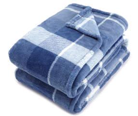 Living Colors Blue Plaid Queen/King Plush Blanket | Big Lots