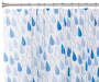 Blue Raindrops Eco Friendly Shower Curtain on Rod Silo Image