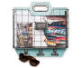 Blue Wire Basket Wall Organizer with Clips SIlo with Items in Basket