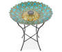 Blue and Gold Peacock Glass Solar Birdbath silo front