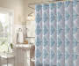 Blue and Gray Medallion Gavi Shower Curtain 72 Inches On Shower Rod Bathroom Environment Lifestyle Image