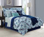 Blue and Green Medallion 12-Piece Full Reversible Comforter Set Lifestyle Image