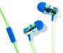 Blue and Green Vortex Stereo Earbuds Silo