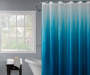 Blue and White Ombre Shower Curtain and Hooks Set on Shower Rod Lifestyle Image