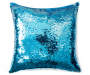 Blue and White Sequin Mermaid Pillow 17 inches  x 17 inches silo front