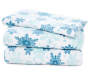 Blue and White Snowflake Twin 3-Piece Fleece Sheet Set Silo