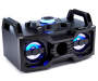 Bluetooth Color Changing LED Boom Box Blue Lights On Angled View Silo Image
