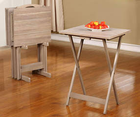 Booth Wood Tray Tables With Stand 5 Piece Set Big Lots