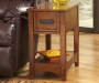 Breegin Brown Mission End Table with Removable Tray