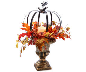 Bronze Led Lighted Metal Pumpkin Urn Big Lots