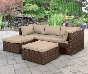 Wilson Amp Fisher Brook Brown All Weather Wicker Sectional Amp Ottoman With Tan Cushions