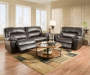 Brown Braxton Cuddle Up Recliner and Motion Sofa Room View