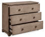 Brown Hexagon 3 Drawer Accent Chest silo angled with draws open