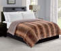 Brown Mink and Chocolate Faux Fur Reversible Full Queen Comforter Bedroom Settting