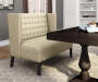Brown Sateen Upholstered Banquette Bench lifestyle