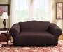 Brown Stretch Loveseat Slipcover Lifestyle