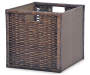 Brown Wicker and Fabric Storage Bin with Handles silo front