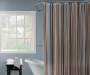 Brown and Blue Stripe Shower Curtain Set Bathtub and Window Lifestyle Image
