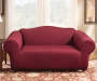 Burgundy Corduroy Stretch Loveseat Slipcover