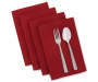 Burgundy Harvest Cloth Napkins 4 Pack Stacked and Fanned with Silverware Silo Image